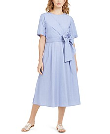 Faux-Wrap Poplin Dress
