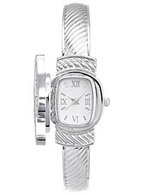 Women's Silver-Tone Bangle Bracelet Watch 25mm