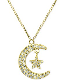 "Cubic Zirconia Crescent Moon & Star Pendant Necklace in 18k Gold-Plated Sterling Silver, 16"" + 2"" extender, Created for Macy's"