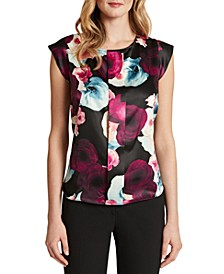 Printed Pleat-Front Cap-Sleeve Blouse