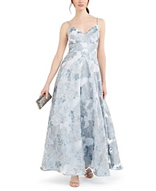 Metallic Floral Organza Gown