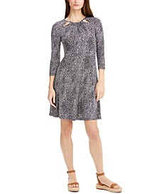 Printed Keyhole-Neck Dress, Regular & Petite