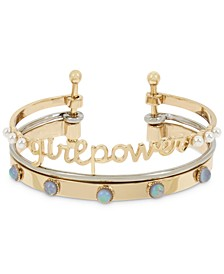 Two-Tone Imitation Pearl Girl Power Multi-Row Cuff Bracelet
