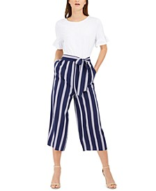 Striped-Leg Belted Jumpsuit, Created for Macy's