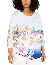 Plus Size Petal Pushers Scenic Knit Top