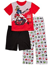 Little & Big Boys 3-Pc. Mario Bros Pajama Set
