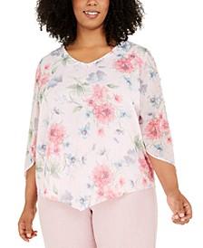 Plus Size Primrose Garden Floral Shimmer Blouse