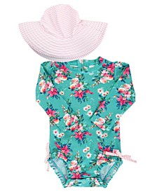 Baby Girls Ruffled 1-Piece Rash Guard Swim Hat Set