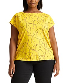 Plus-Size Print Cotton-Blend T-Shirt