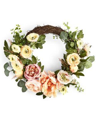 English Garden Asymmetrical Ranunculus Artificial Wreath, Created for Macy's