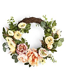 English Garden Asymmetrical Ranunculus Artificial Wreath, Created For Macy's