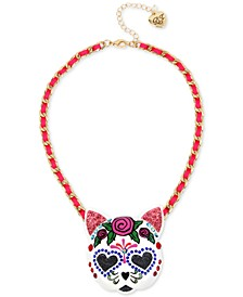"""Gold-Tone Large Sugar Skull Cat Fabric-Woven Pendant Necklace, 17"""" + 3"""" extender"""