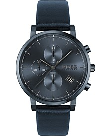 Men's Chronograph Integrity Blue Leather Strap Watch 43mm