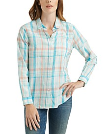 Classic One-Pocket Plaid Cotton Shirt