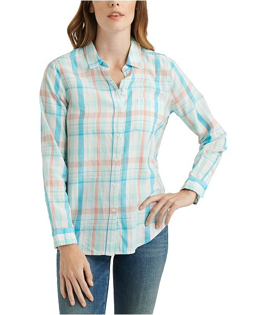 Lucky Brand Classic One-Pocket Plaid Cotton Shirt