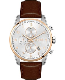 Men's Chronograph Skymaster Brown Leather Strap Watch 44mm