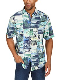 Men's Island Snapshot Classic-Fit Postcard-Print Silk Camp Shirt