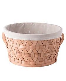 Wooden Round Storage Shelf Baskets with Liner Bins Boxes, Large