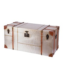 Industrial Wooden Aluminum Storage Trunk with Lockable Latches, Large