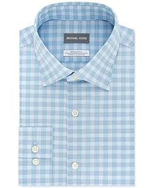 Men's Classic/Regular-Fit Airsoft Non-Iron Performance Stretch Check Dress Shirt