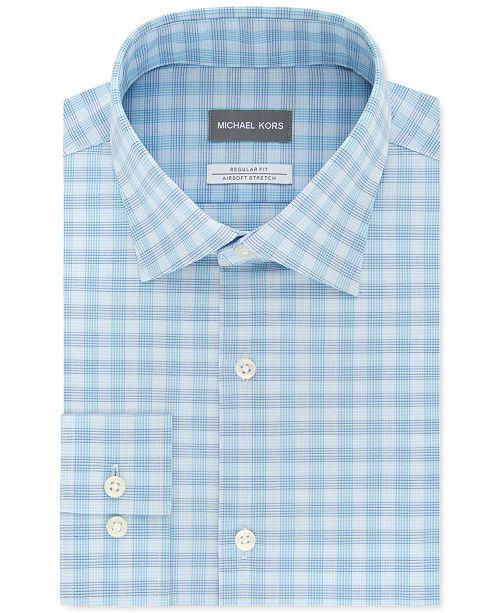 Michael Kors Men's Classic/Regular-Fit Airsoft Non-Iron Performance Stretch Check Dress Shirt