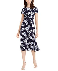 Floral-Print Twist-Waist Dress