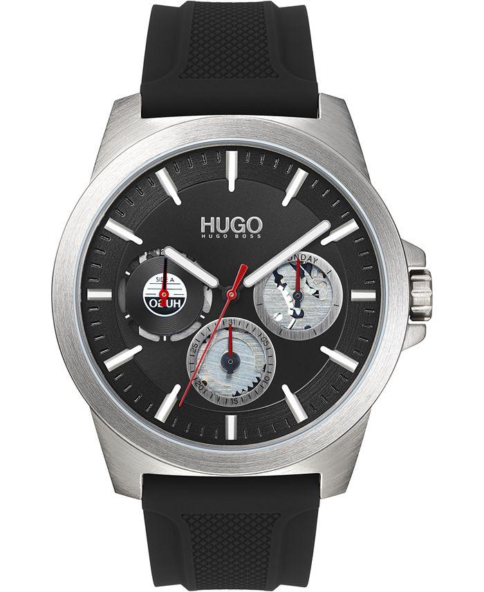 HUGO - Men's Chronograph #TWIST Black Silicone Strap Watch 42mm