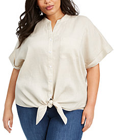 Charter Club Plus Size Tie-Front Linen Top, Created for Macy's
