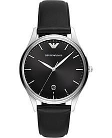 Men's Black Leather Strap Watch 41mm