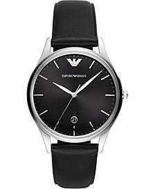 Men's Black Leather Strap Watch 41mm