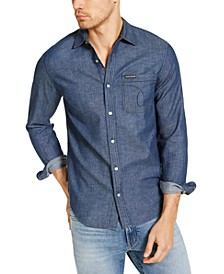 Calvin Klein Men's Long Sleeve Chambray Omega Shirt