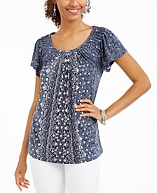 Printed Pleat-Neck Top, Created For Macy's