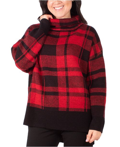 NY Collection Plaid Turtleneck Sweater