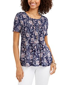 Petite Smocked Floral-Print Top, Created for Macy's