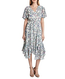 Floral-Print Smocked Midi Dress