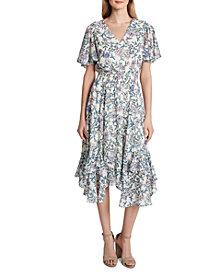 Tahari ASL Floral-Print Smocked Midi Dress