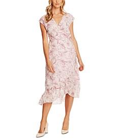 Botanical Breeze Floral-Print Faux-Wrap Dress