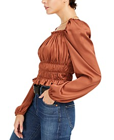 Square-Neck Smocked Puff-Sleeve Top, Created for Macy's