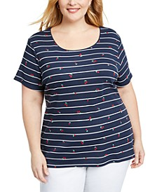 Plus Size Cherry-Print Striped Top, Created for Macy's