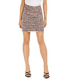 Bar III Printed Ruched Mesh Mini Skirt, Created for Macy's