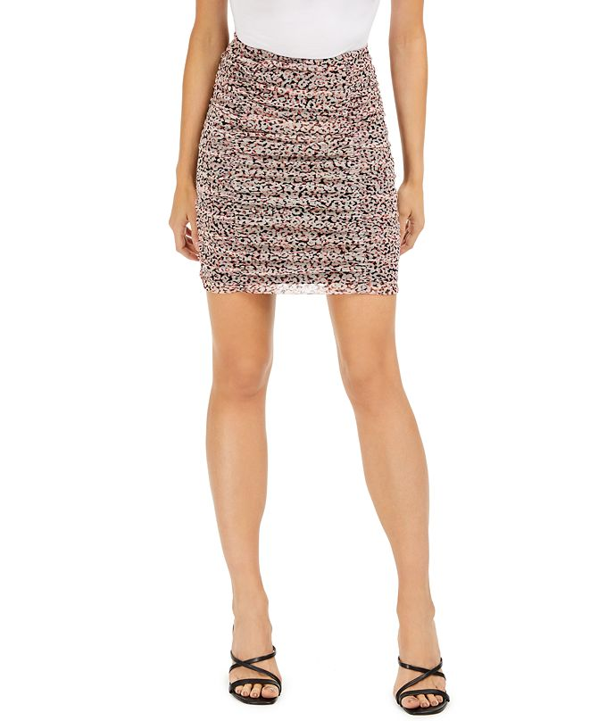 Bar III Printed Ruched Mesh Mini Skirt, Created for Macy's