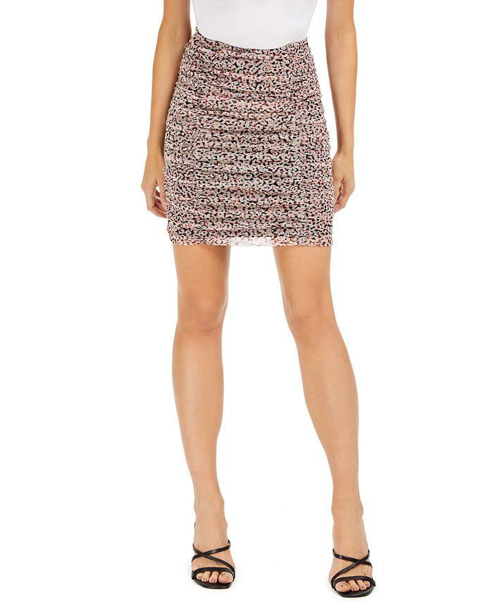 Bar III - Printed Ruched Mesh Mini Skirt