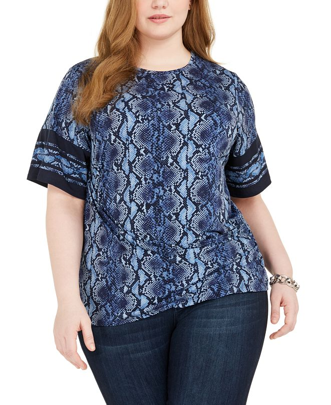 Michael Kors Plus Size Snake-Print Ruched-Side Top