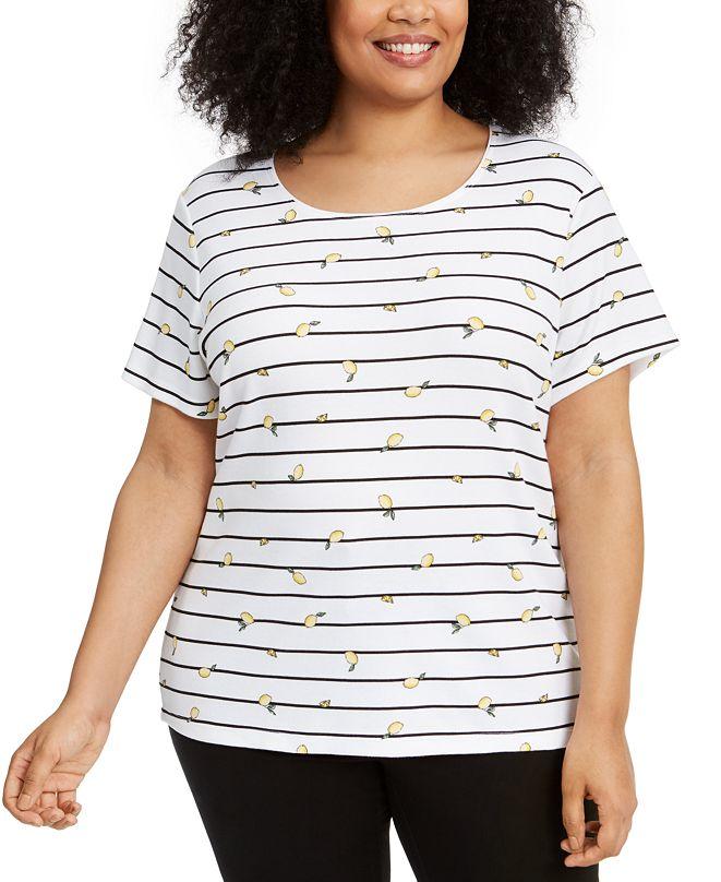 Karen Scott Plus Size Lemon-Print Striped Top, Created for Macy's