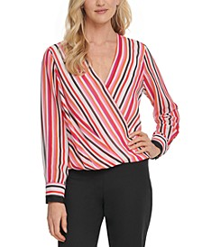 Striped Surplice-Neck Top