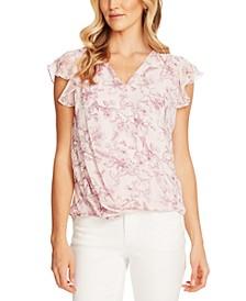 Floral-Print Wrap-Front Blouse