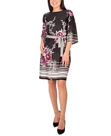 Petite Belted Floral-Print Dress