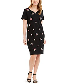 Petite Split-Neck Embroidered Dress, Created for Macy's