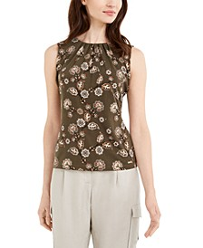 Floral-Print Pleated Top