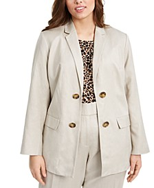 Plus Size Double-Breasted Open-Front Blazer